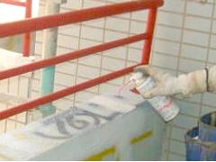 エポキシ樹脂ピン注入工法(モルタル笠木浮きの場合)手順3
