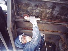 鉄骨階段塗装工程1
