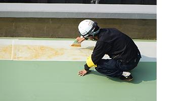 塩ビシート防水 接着作業