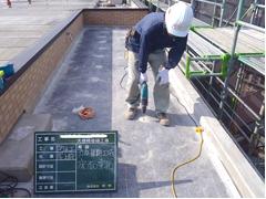 塩ビシート防水 機械固定式工法 施工の状況2